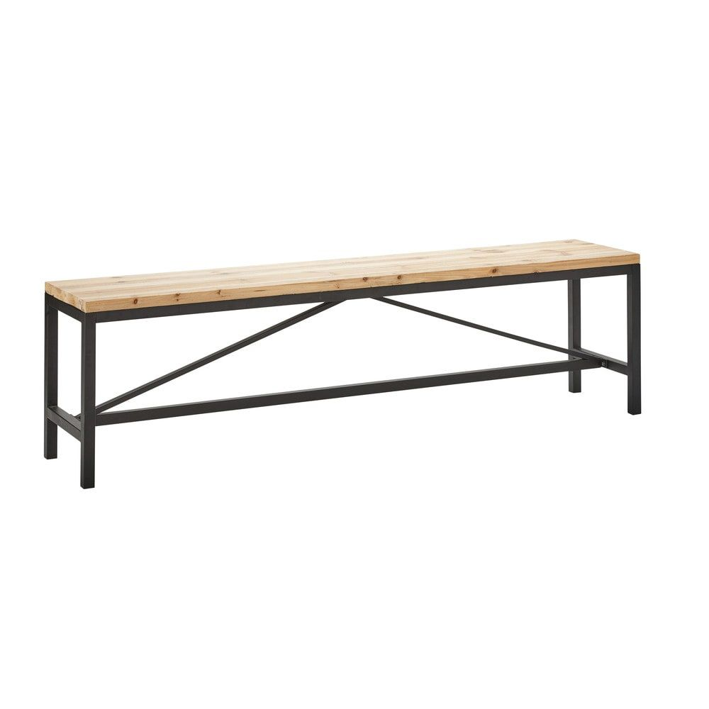 Black Metal and Solid Fir Bench L 170 cm | Extended kitchen ...