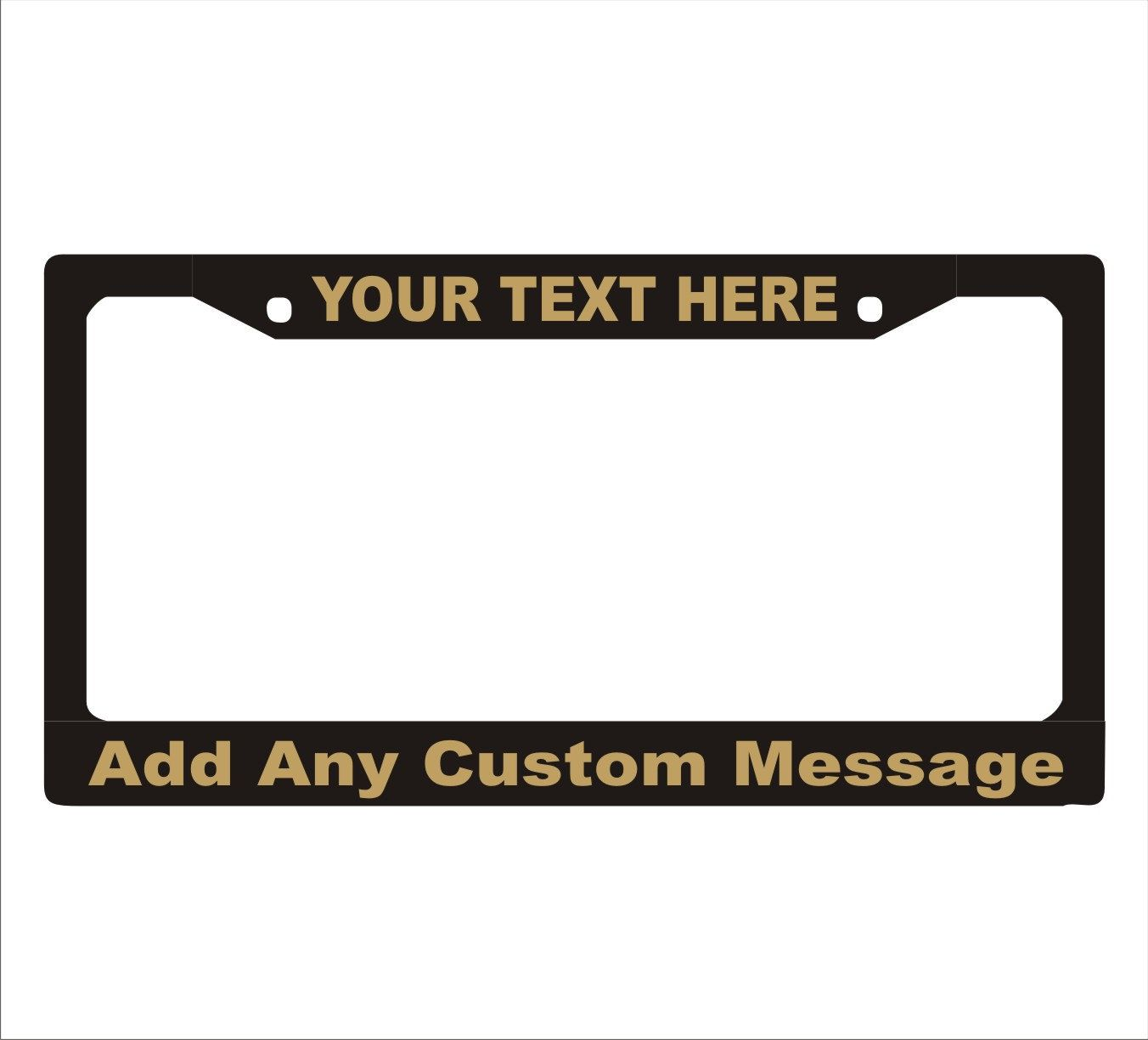 Metallic Gold Letters Custom Personalized License Plate Frame ...