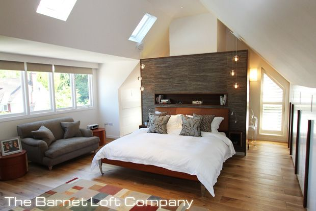 outstanding open loft bedroom designs | Feature screen to hide the flue or act as a room divider ...