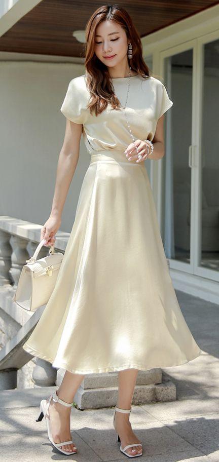 Elegant Satin Flared Long Skirt