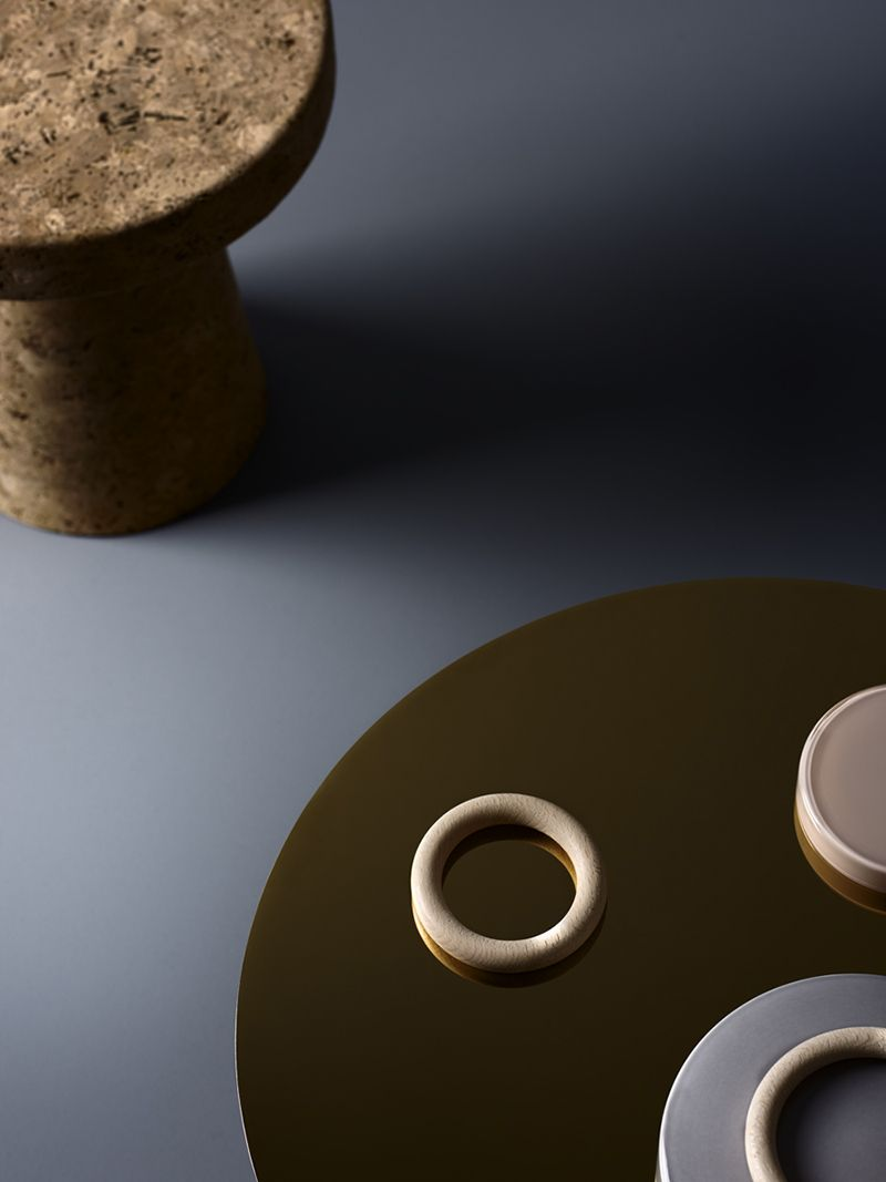 dusty blue | cork | pale wood | light grey | brass