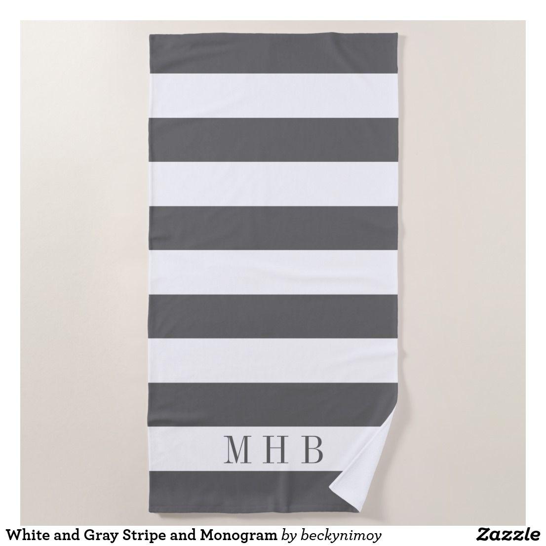 White And Gray Stripe And Monogram Beach Towel Zazzle Com