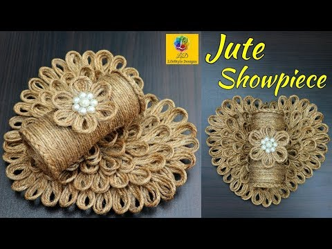 Diy Wall Hanging Flower Vase With Jute Rope Wall Decor Showpiece Making Using Jute Rope Youtube Wall Hanging Diy Rope Crafts Diy Wall Hanging Flower