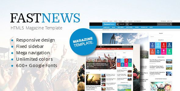 Download Free FastNews Responsive Magazine HTML5 Template Free