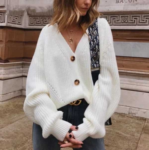 women's v neck button down cardigan sweater white button up sweaters for ladies chunky button up cardigan off the shoulder #sweater #buttonup #studentsweater #outfitidea#cardigans #knitted #offshoulder