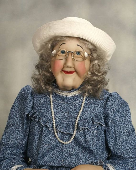 Grandma (Grand Mother) Art Soft Sculpture Life Size Sized Doll #dollcare Grandma Art Soft Sculpture life size doll. Carefully hand crafted life sized doll figures such as this Grand Mother Soft Sculpture piece are constructed with a lightweight frame and are covered with cotton, to insure movable joints and balance without outside supervision. The Soft #dollcare