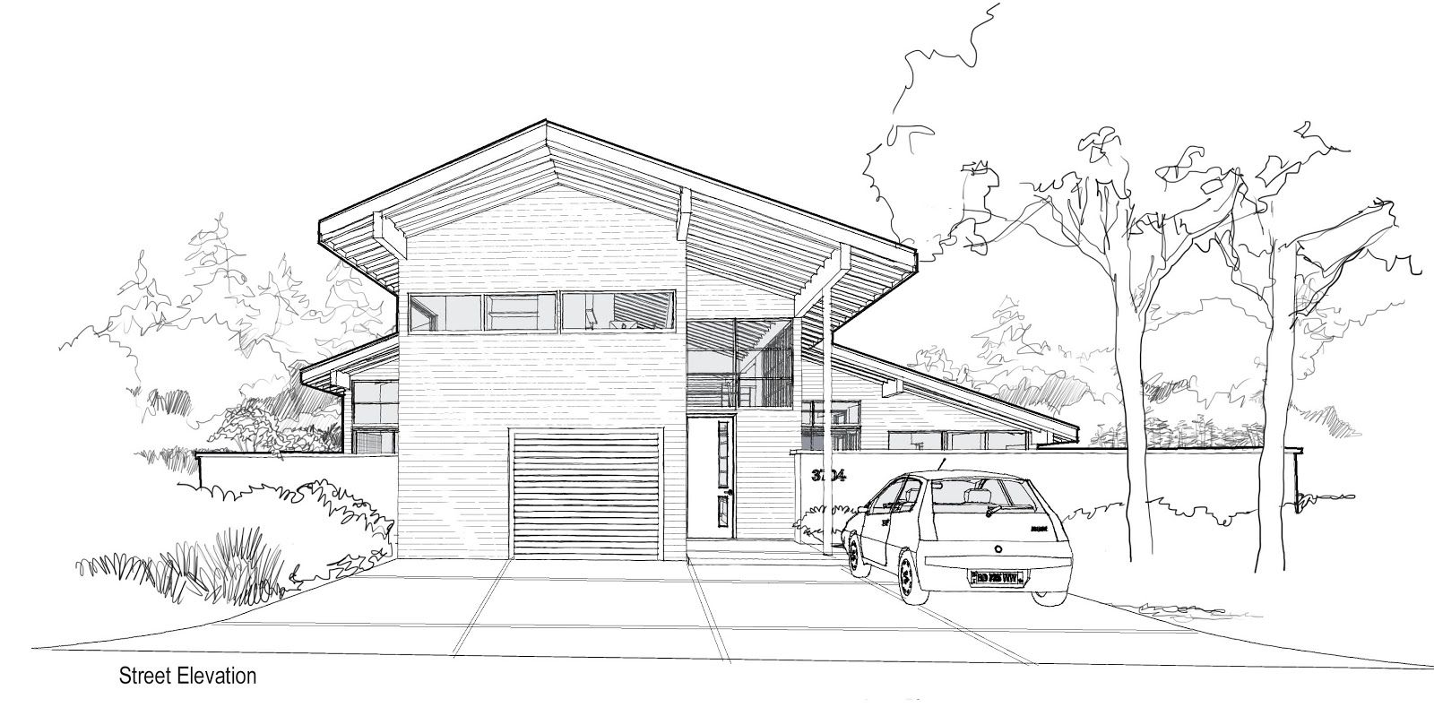 Modern House Sketch Design Front View