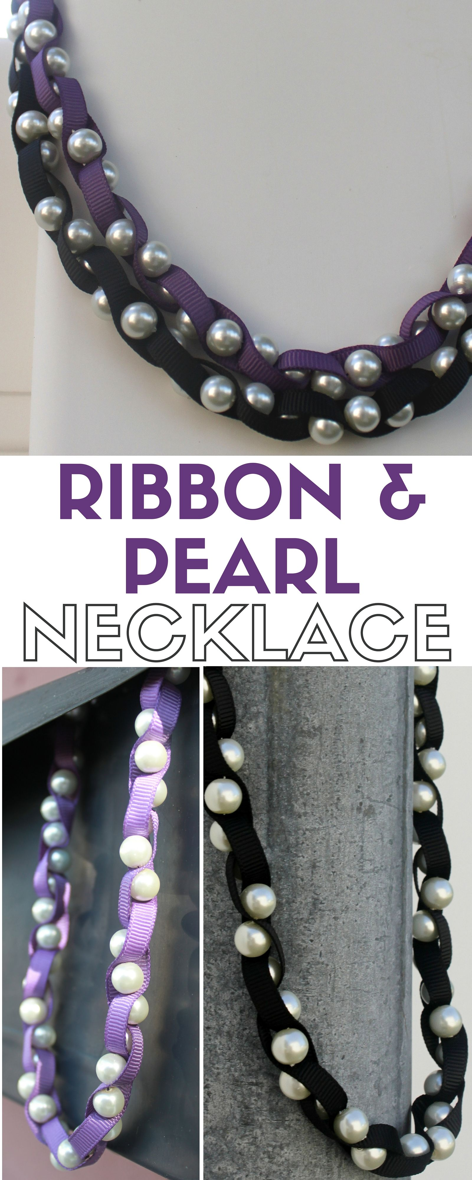 Ribbon and Pearl Necklace Tutorial | Handmade jewelry tutorials ...
