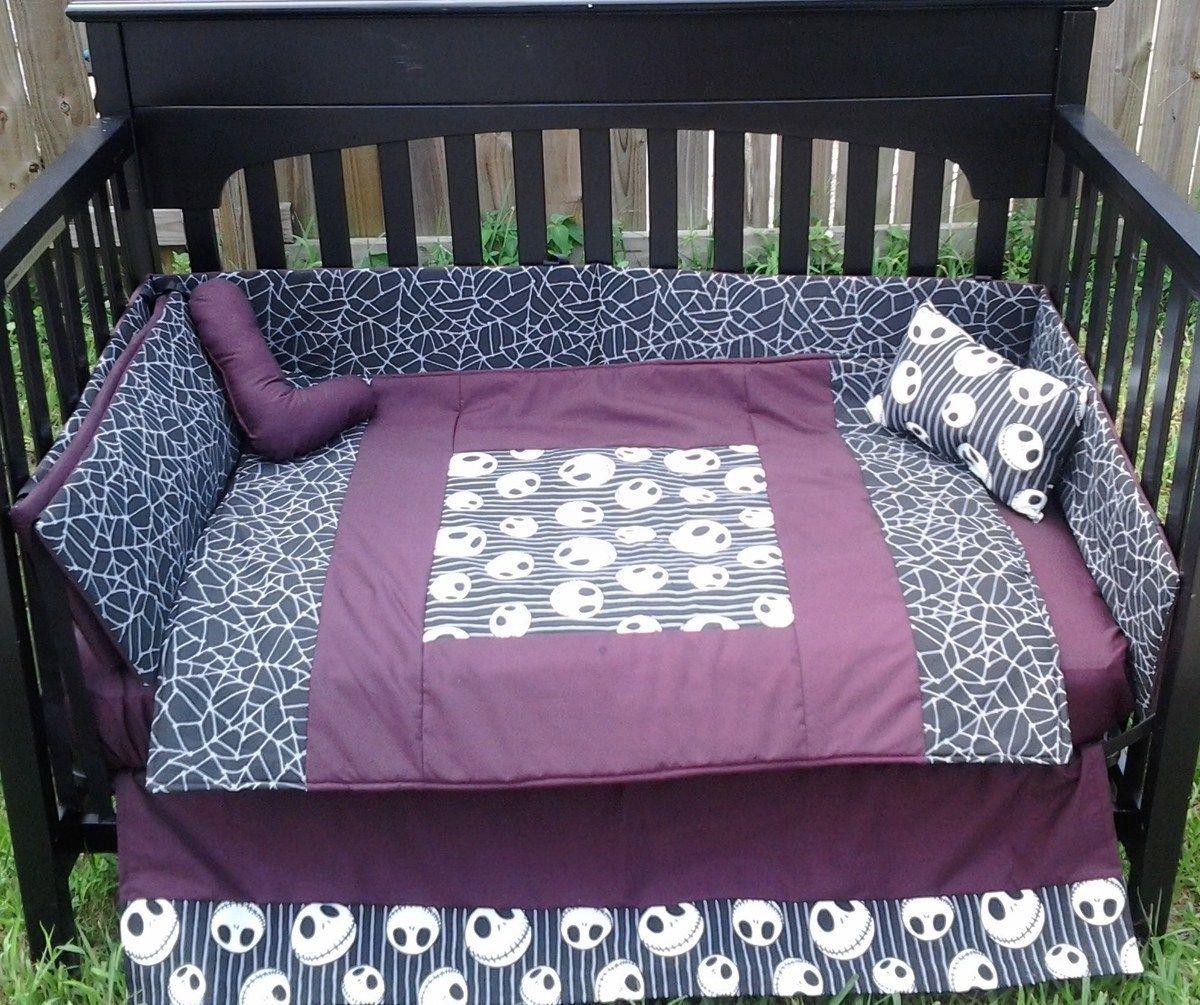 New Crib Bedding Set M W Jack Nightmare Before Christmas Fabric Baby Bed Baby Crib Bedding Sets Crib Bedding