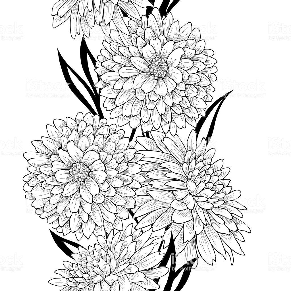Floral Seamless Pattern Flower Chrysanthemum Background Flourish Line Art Vector Botanical Illustration Black And White Flower Art Painting