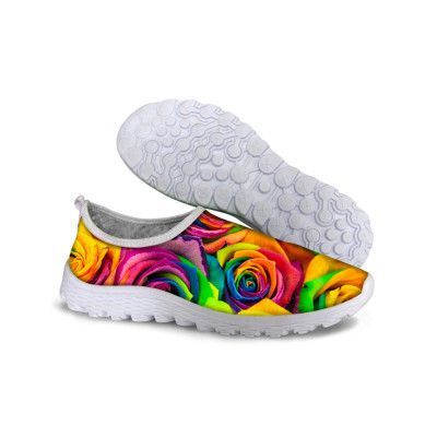 Unique Designer 3D Rose Printing Women Shoe Breathable Floral Leisure Shoes Outdoor Casual Walking Shoes Ladies Trainer Flower