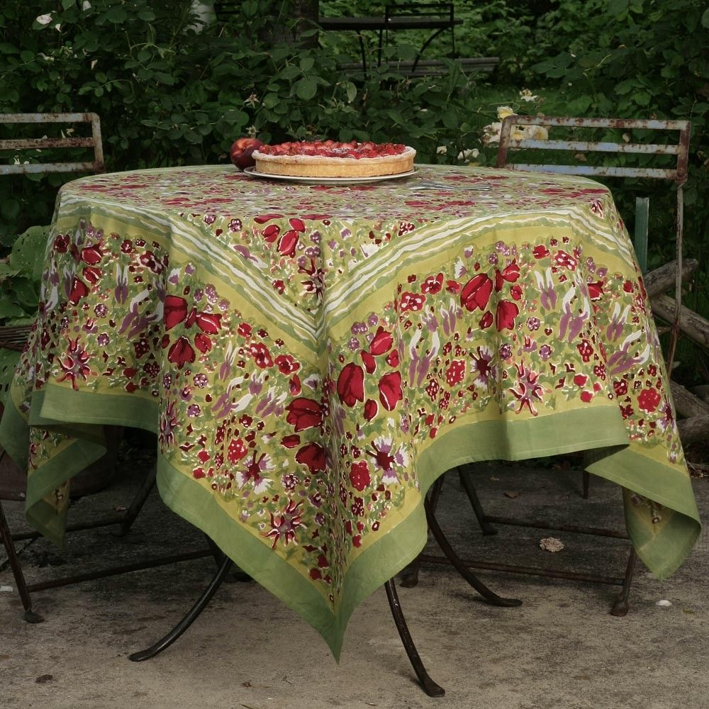 French Tablecloth Jardin Red U0026 Green