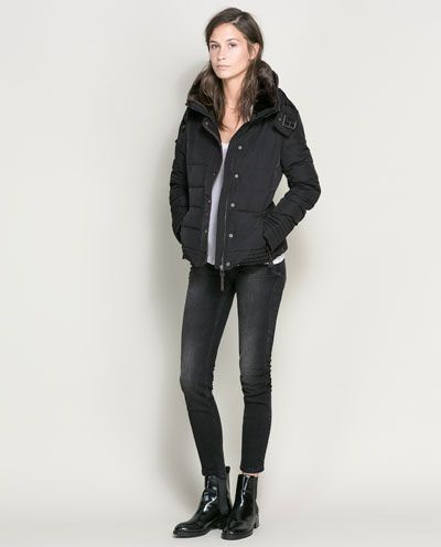 Black puffer jacket womens zara