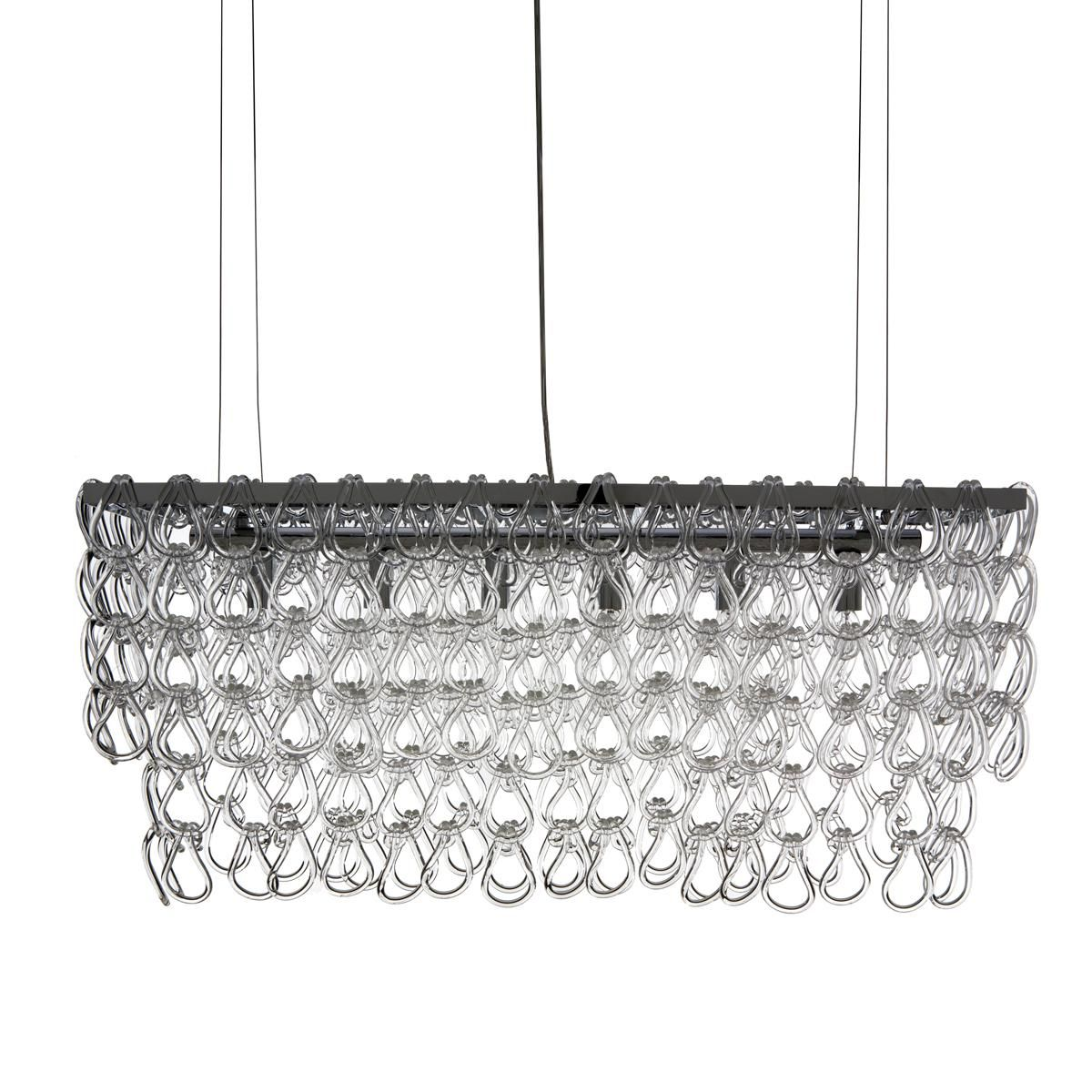 Rectangular Glass Chain Island Chandelier Small Shades Of Light