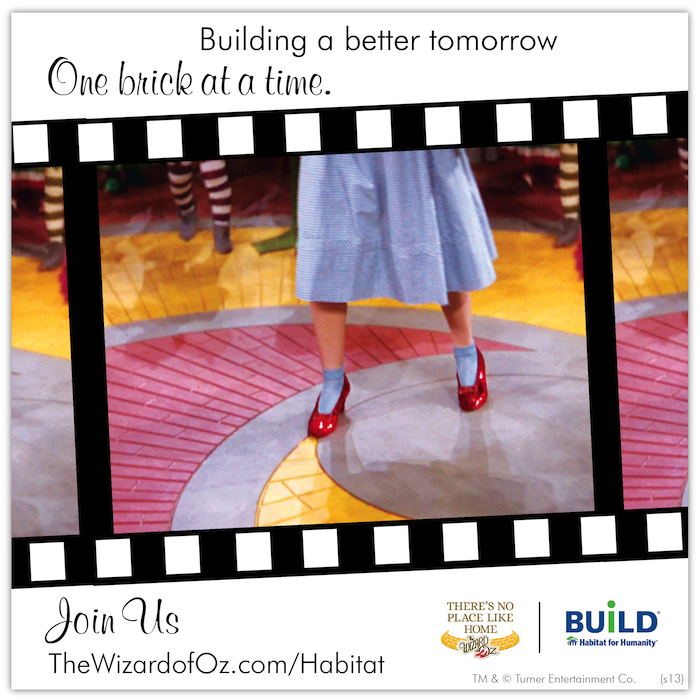Building a better tomorrow. One brick at a time. Join us: http://thewizardofoz.warnerbros.com/habitat/ #WizardofOz #WizardofOz75 #TheresNoPlaceLikeHome #TNPLH