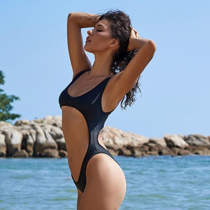 bd7356eb5e976 FuzWeb Ariel Sarah Plus Size Thong Swimsuit One Piece Swimwear Sexy Solid  Swim Wear One Piece Halter Bathing Suit Women Beach Wear