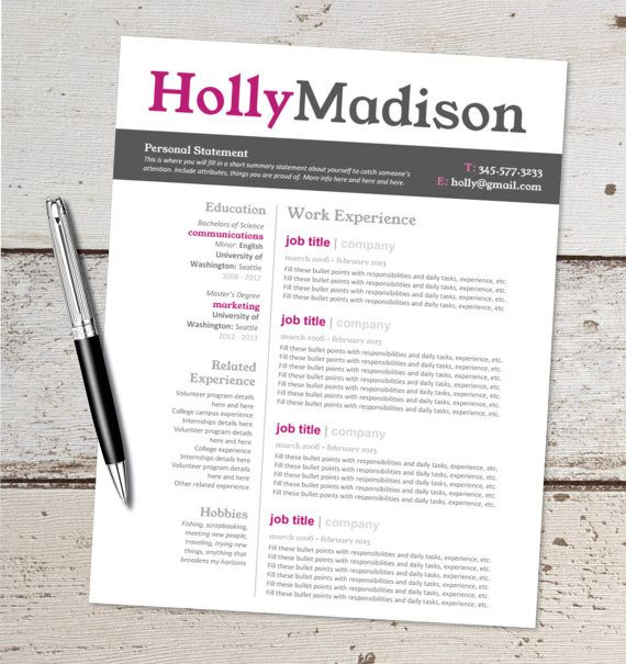Resume Design Template - Cover Letter, References - Instant Download
