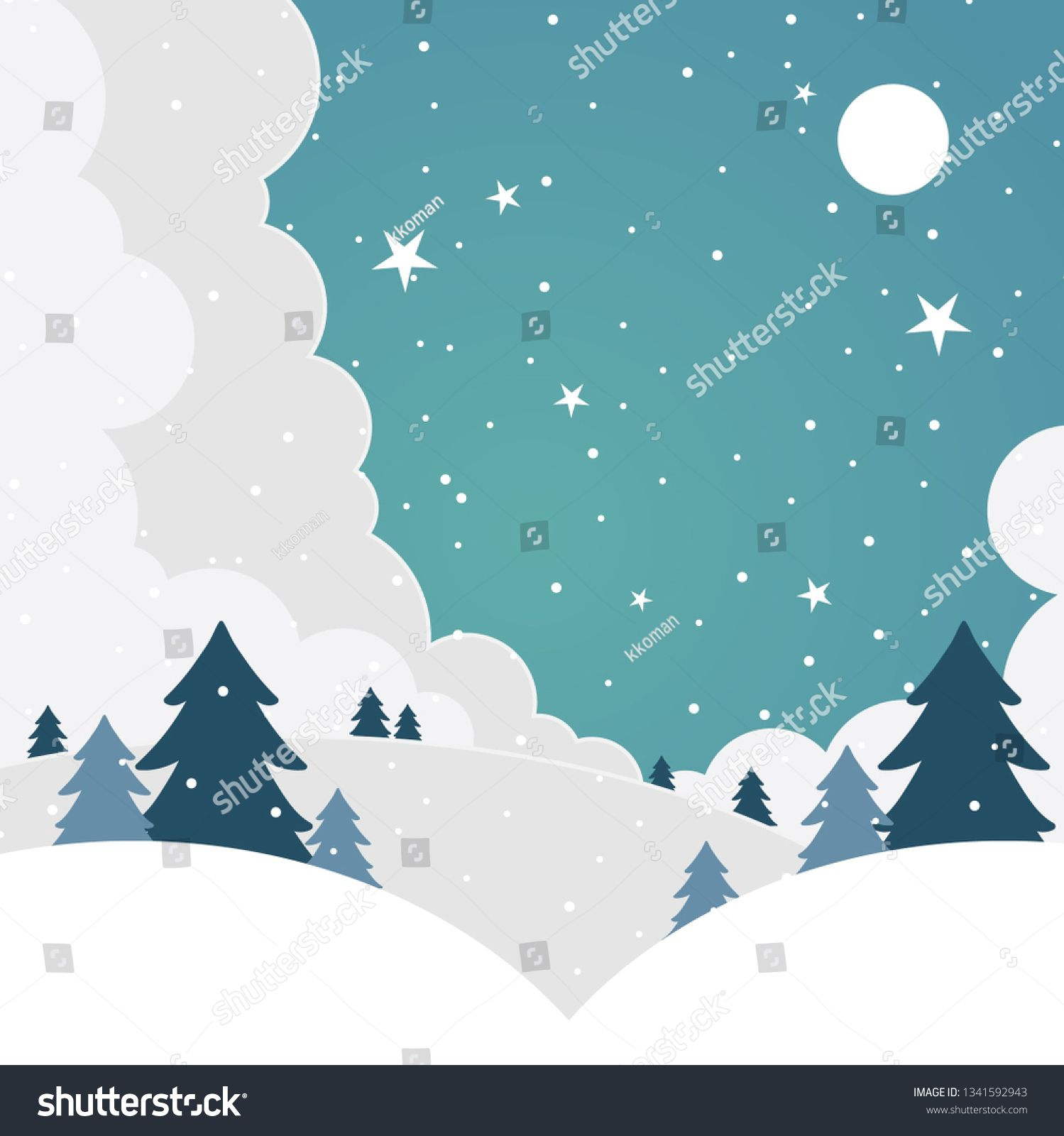 Winter Landscape With Forest And Snowfall At Night Cartoon Christmas Trees In A Snow Holiday S Christmas Tree Background Winter Scenes Cartoon Christmas Tree