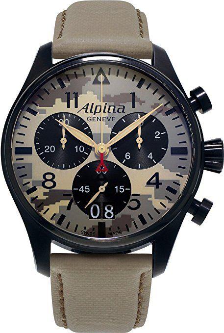 "Alpina Geneve ""CAMOUFLAGE"" PILOT BIG DATE CHRONOGRAPH AL-372MLY4FBS6 Cronógrafo para hombres Reloj Aeronóautico"