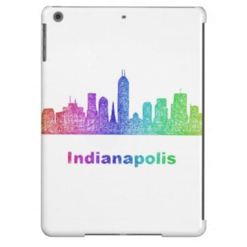 Rainbow Indianapolis skyline iPad Air Cases $77.30 *** Rainbow city skyline of Indianapolis  Indiana. - iPad case