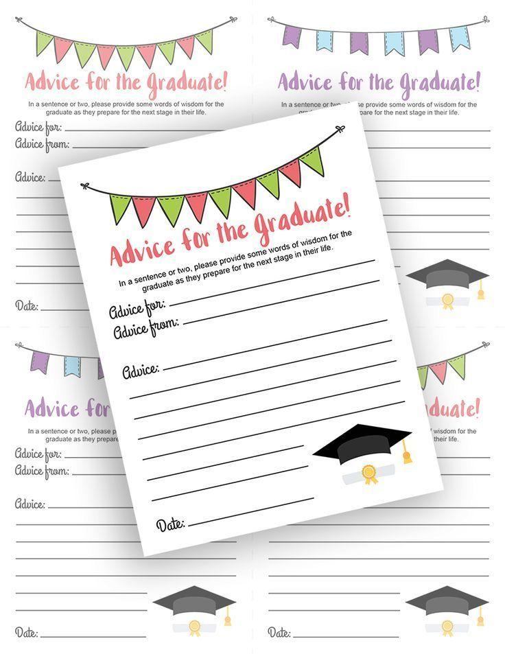 Advice for 8th Grade Graduates Free Printable Invitation Insert