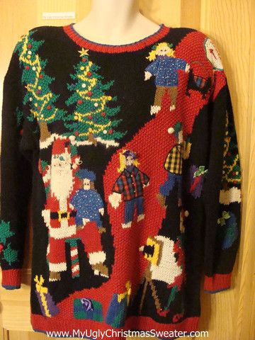 Ugly Christmas Sweater 80s Children On Santas Lap Ugly Christmas