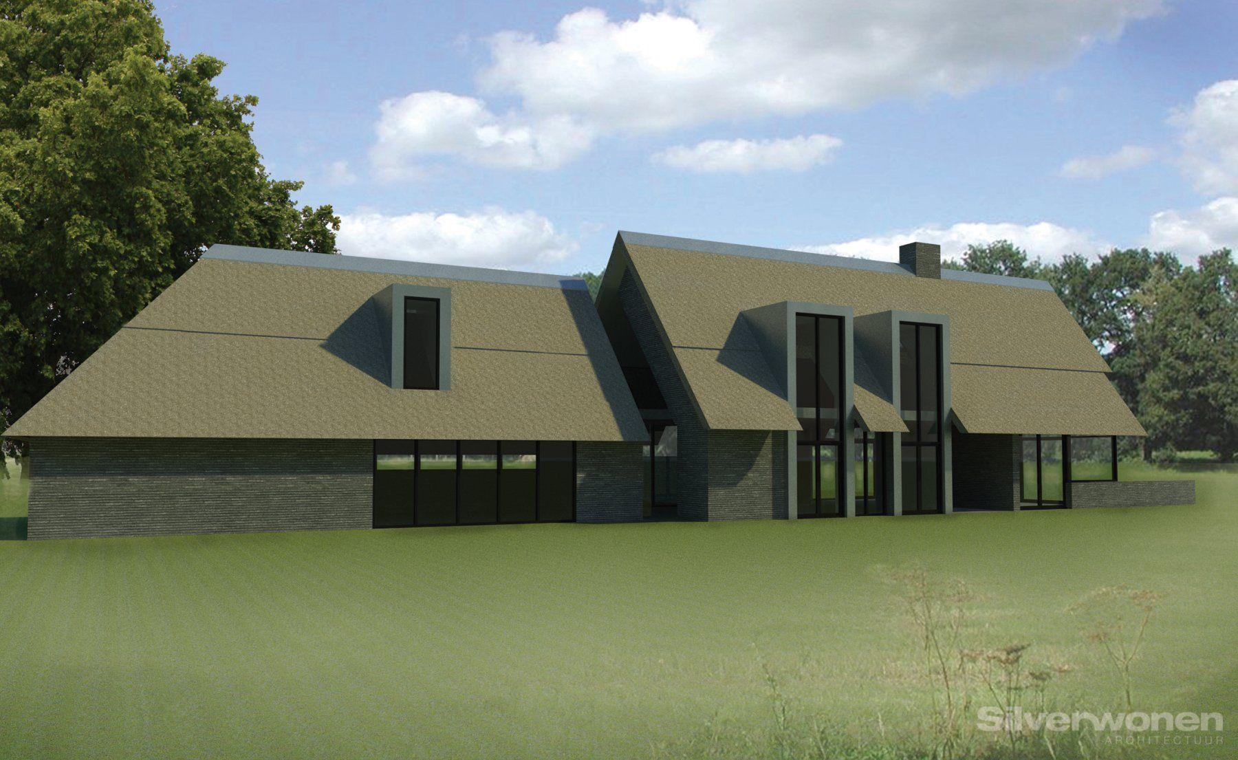 In het mooie Drentse landschap nabij Diever is dit eigentijdse ontwerp bedacht. Onmiskenbaar is de lengte van de villa. Het is deze lengte i.c.m. de rieten dakbedekking dat deze woning zeer eigen maakt.