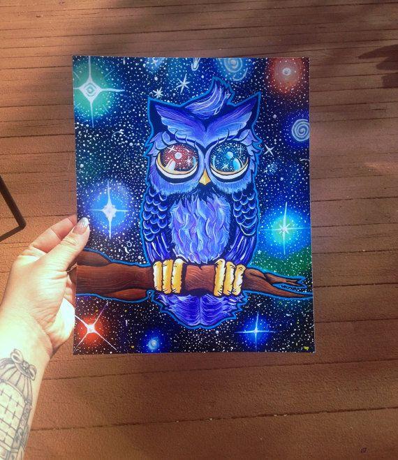 8x10 Print Of My Original Space Owl Trippy Acrylic Painting