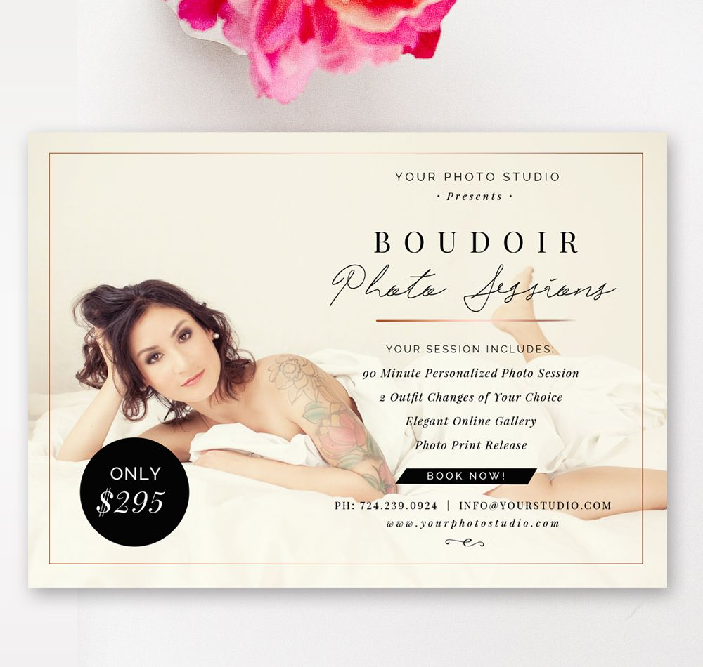 5x7 Boudoir Marketing Board Mini Session Template Photography Sessions Pricing