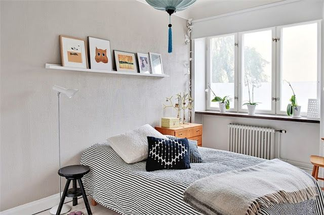 lime green and blue in a swedish apartment  home