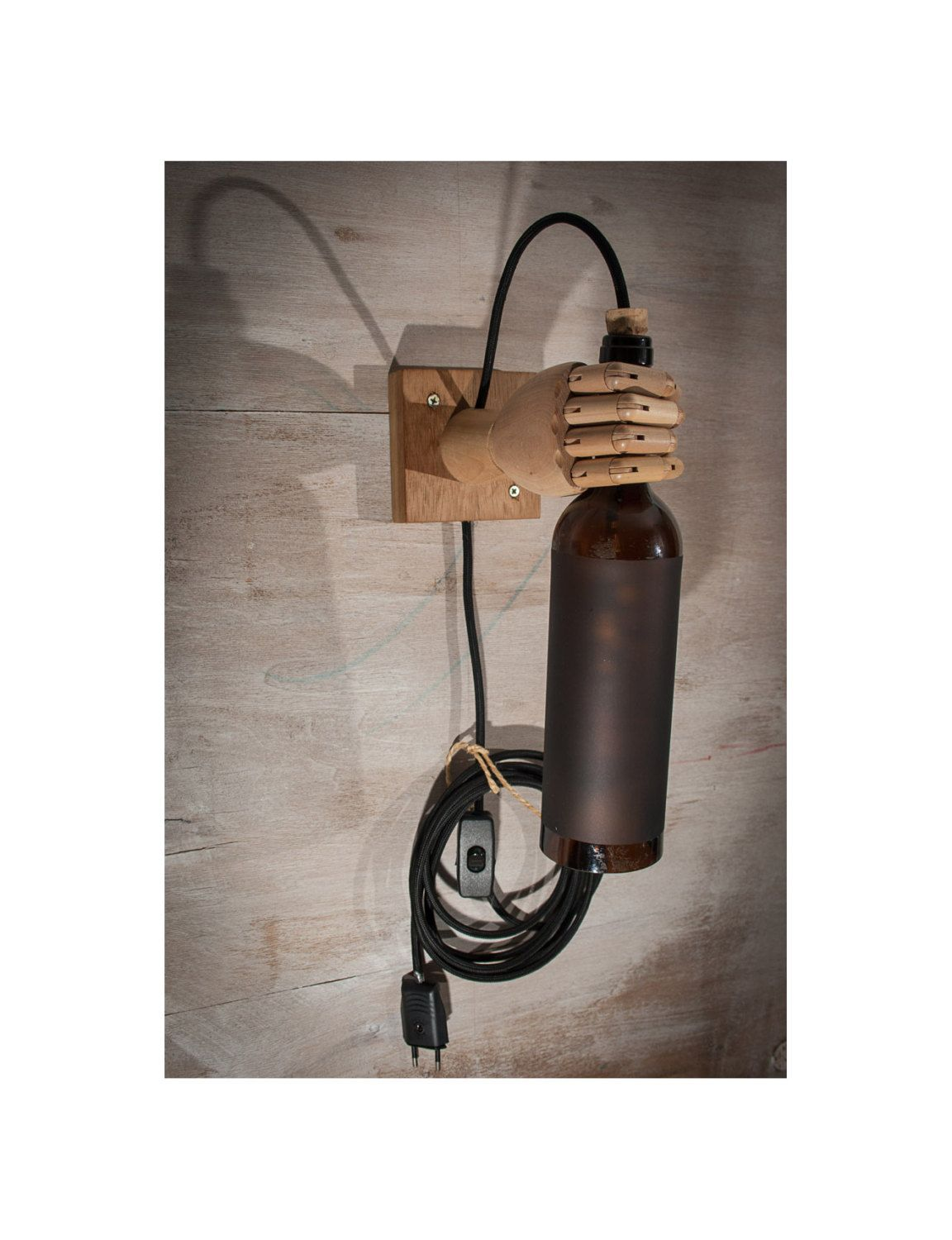 Brown Wine Bottle Light Wall Sconce Wood Lamp Wall Light Wine Bottle Bottle Lamp Hand Lamp Lighting Wine Bottle Lights Brown Hand Pared De Botellas De Vino Lamparas De Pared Y