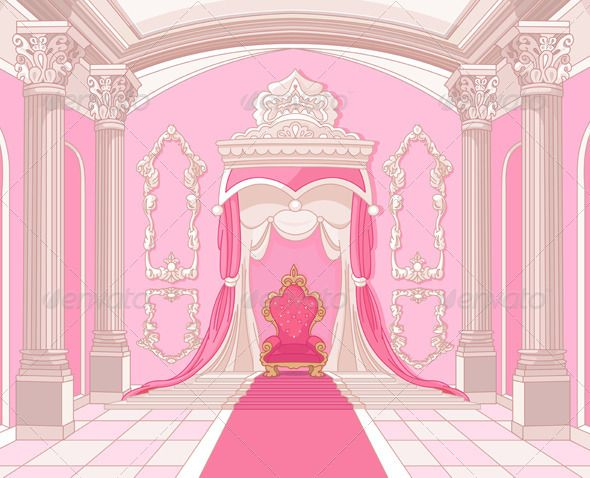 Inside Cartoon Castle Background Throne room, the throne and art ...