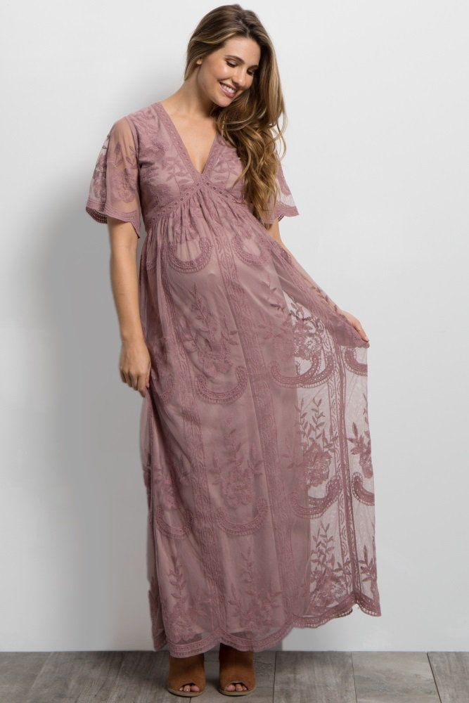 0f8105f3bd Mauve Lace Mesh Overlay Maxi Dress - perfectly muted pink
