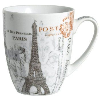 222 Fifth Paris Postcard Coffee Mug New. Eiffel Tower Porcelain