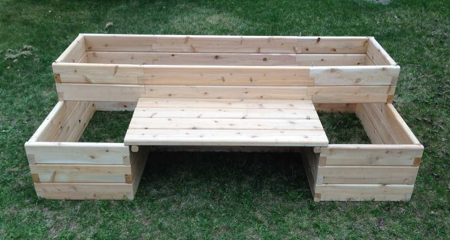 raised bed with bench - I REALLY like this! | Gardening & flowers ...