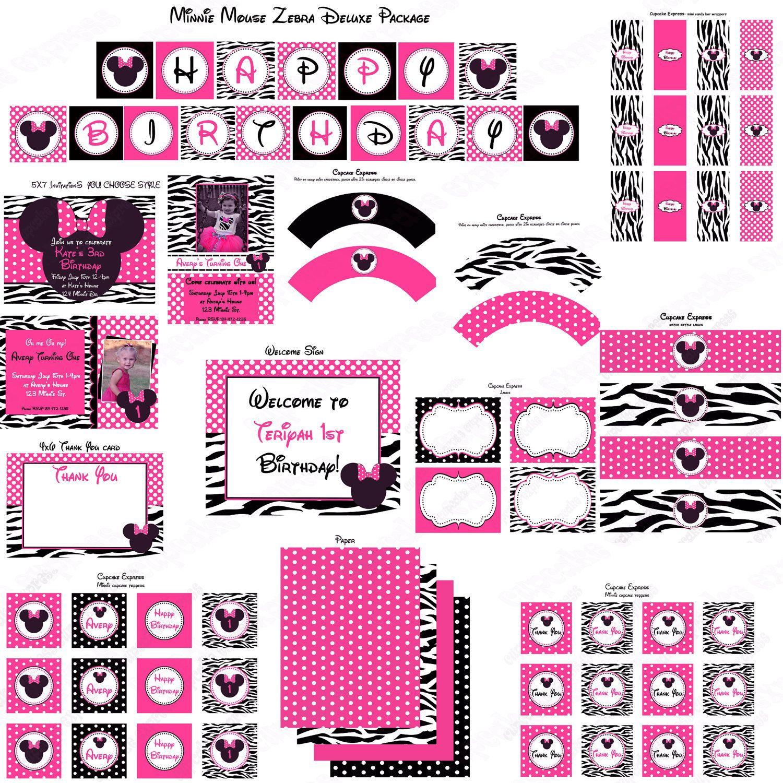 R DIY Zebra Minnie Mouse Birthday Party PRINTABLE Labels