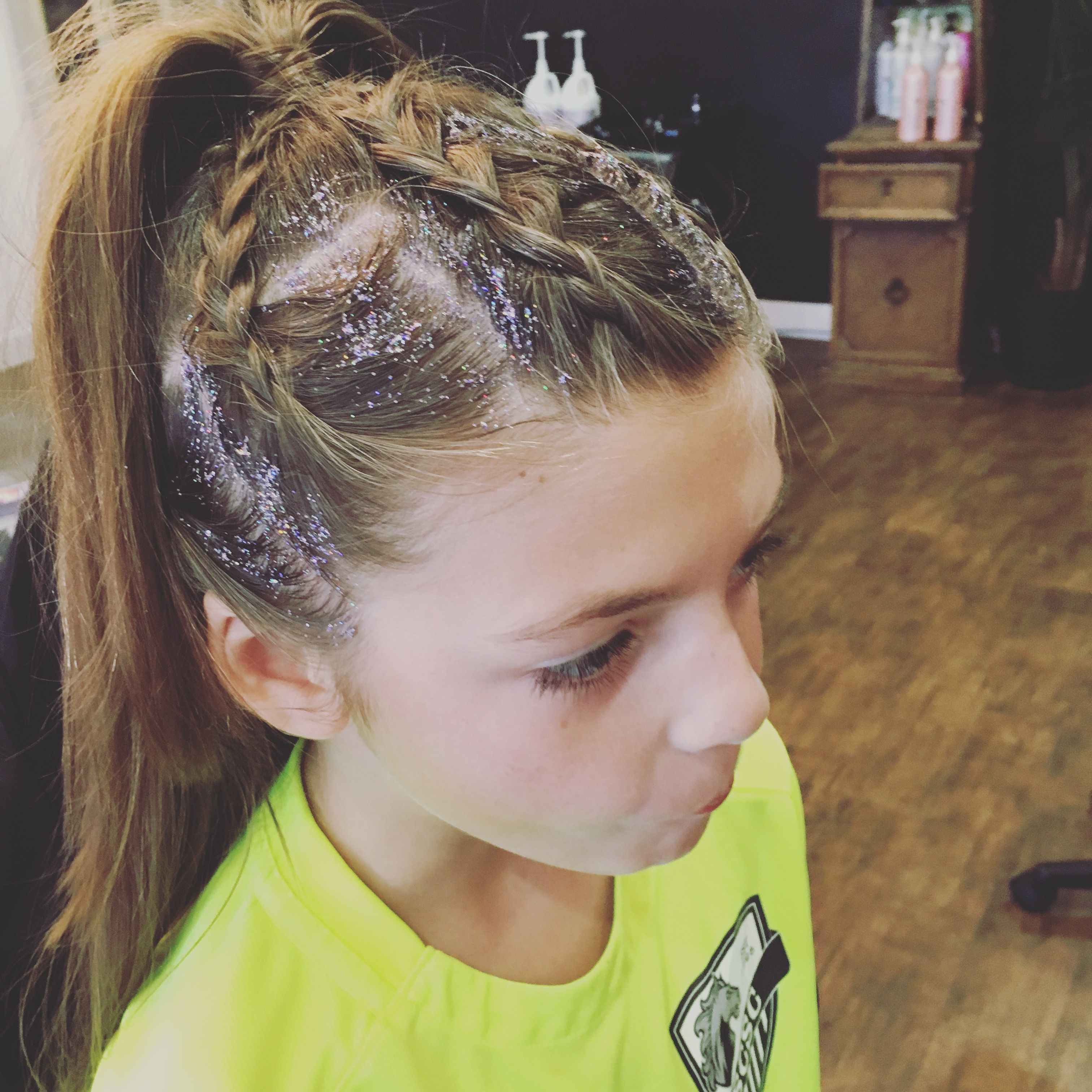 Girls braids with glitter hair i did pinterest girls braids