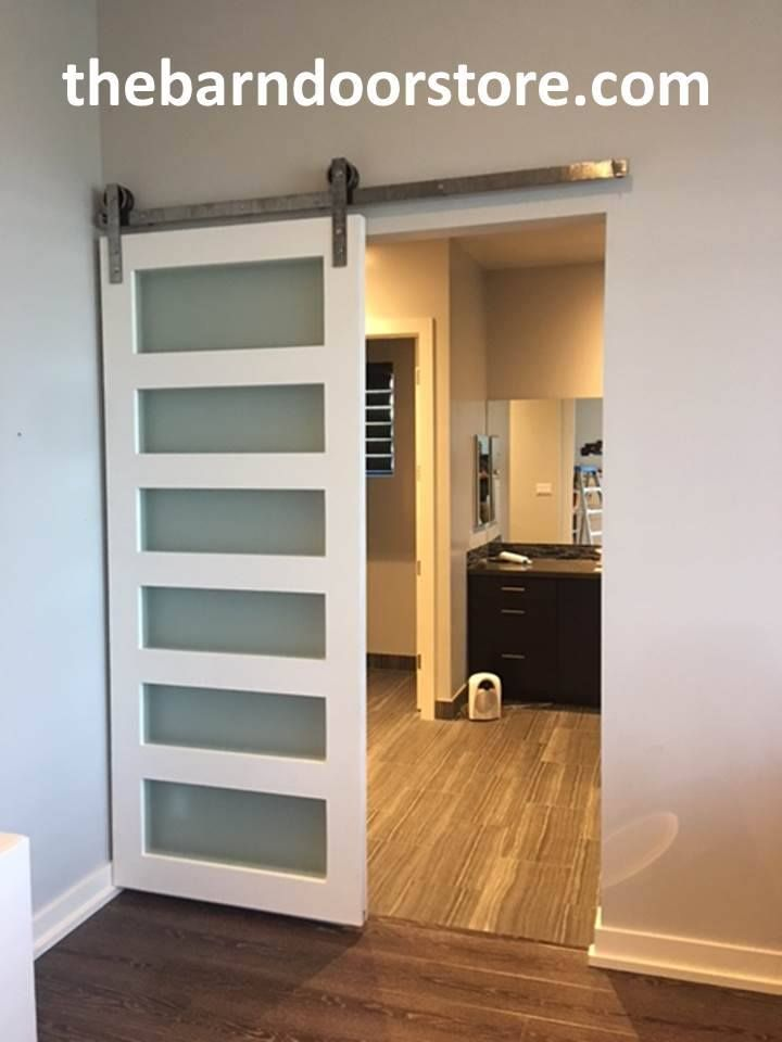Such A Cool Barn Door Our 6 Lite With Opaque Glass Painted In A