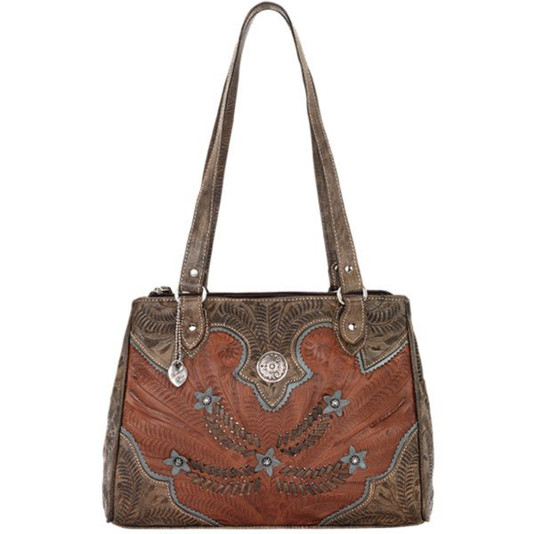 American West Fall 2016 Desert Flower Multi-Compartment Organizer Tote ($238) ❤ liked on Polyvore featuring bags, handbags, tote bags, white tote purse, cowgirl handbags, white tote bag, tote hand bags and flower purse