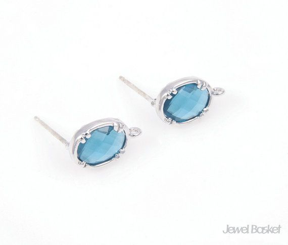 - 92.5 Sterling Silver Ear Post (No Allergy) - Highly Polished Silver Color Plating (Tarnish Resistant) - Montana Blue Color Glass - Brass / 7mm x 12mm - 2pcs / 1pack - Enclosed Ear Clutch