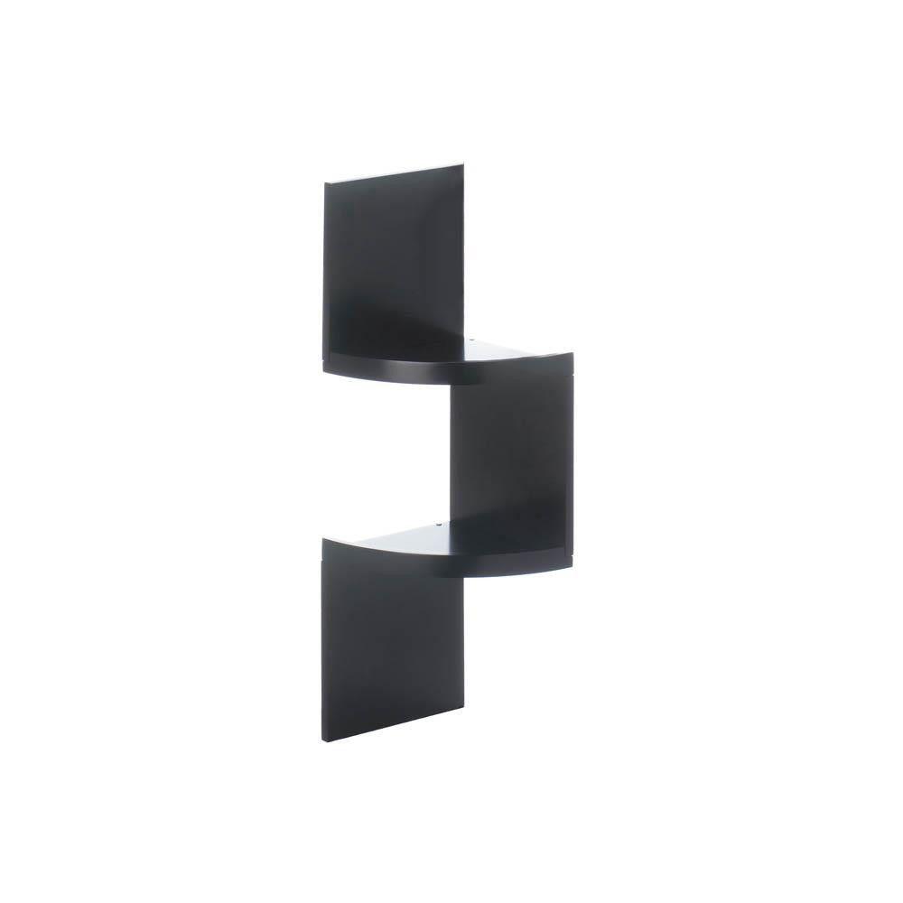 Zig Zag Corner Shelves 2 Shelf Black Black Corner Shelf Corner Wall Shelves Corner Wall