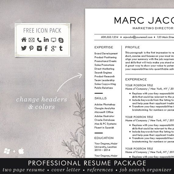 Modern Resume Template CV Template for Word Mac or PC Resume