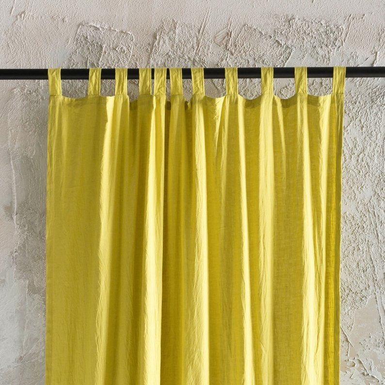 Linen Window Curtains Tab Top Window Curtain Panels Natural