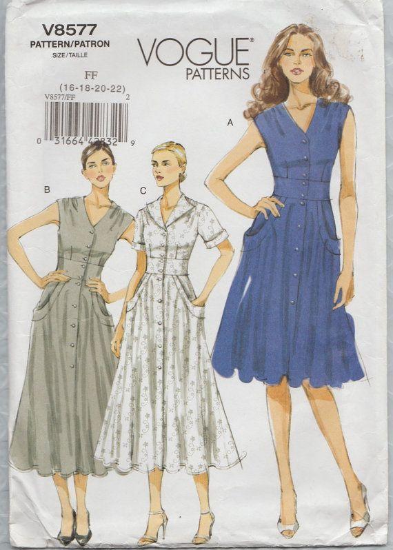 Моде 8577 Вышел Из Печати Выкройки Платье Размеры 16 18 20 22 Vogue