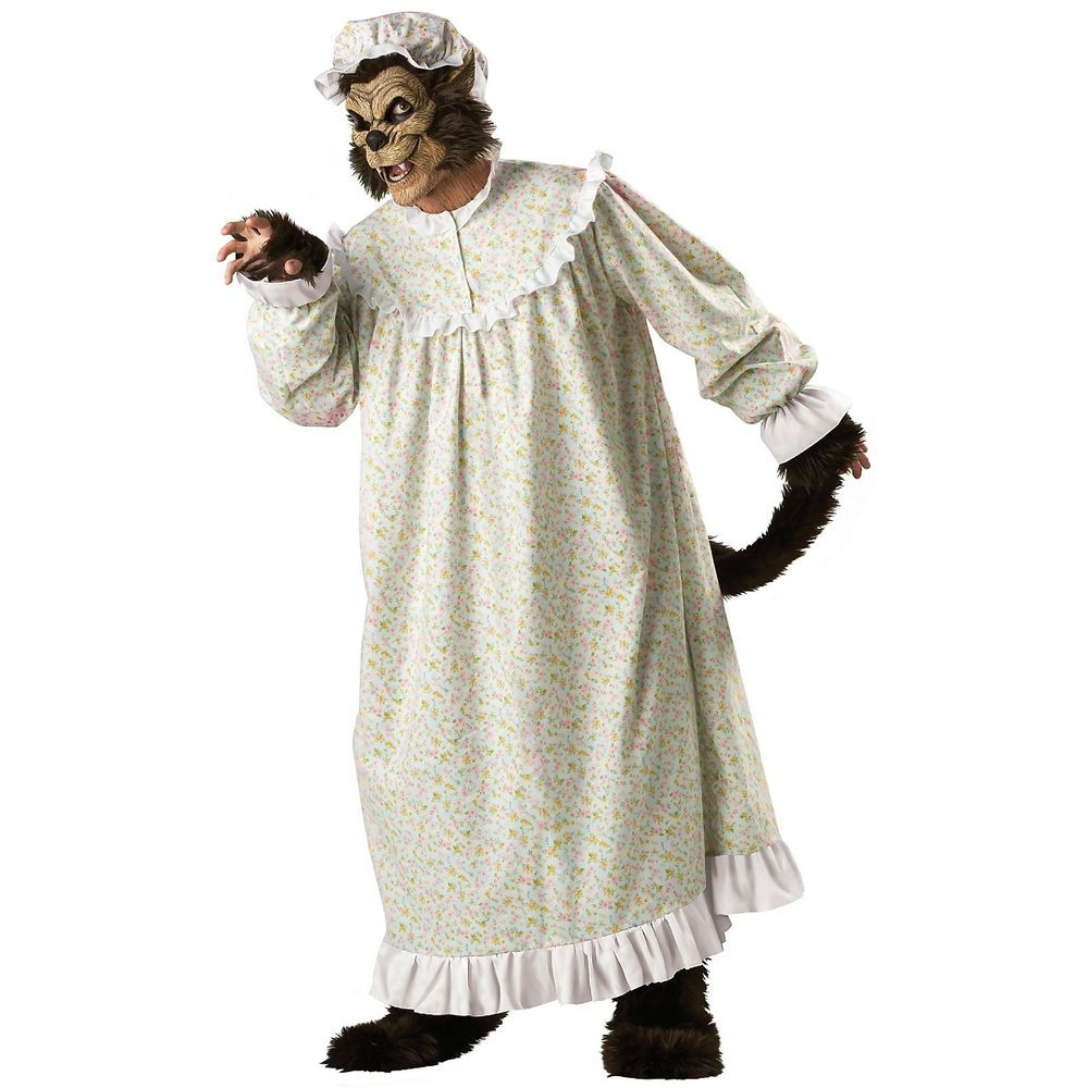Adults White Granny Wolf Fancy Dress Halloween Red Riding Hood Costume