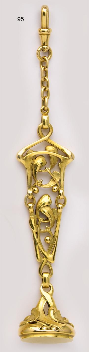 Art Nouvear Carved gold floral fob. Maison G. Desbazeille, Paris JV