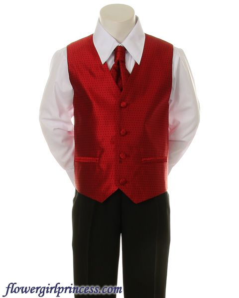 Ring Bearer Tuxedos White And Red Flower Girl Dresses Boys