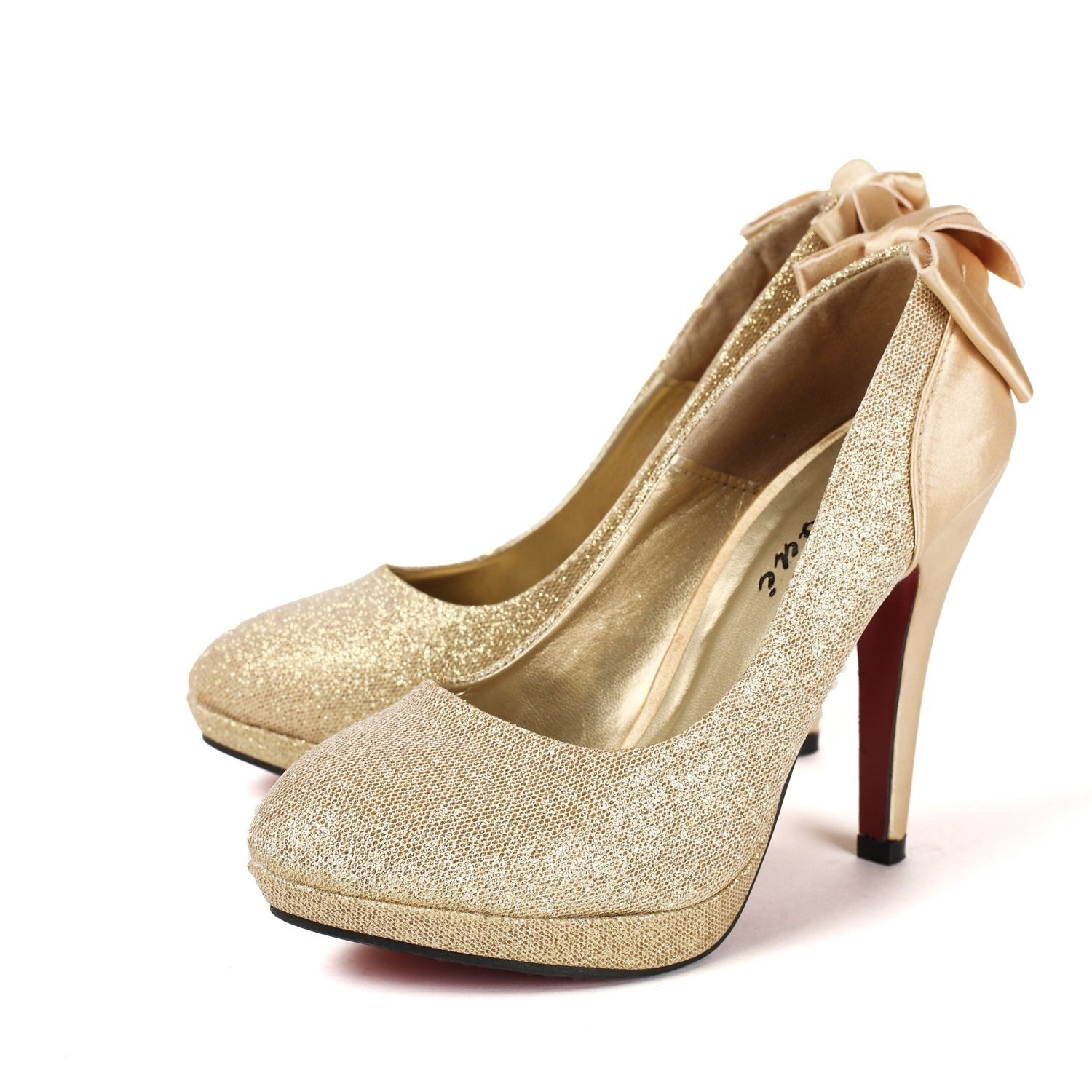 High heels gold glitter wedding shoes with bow