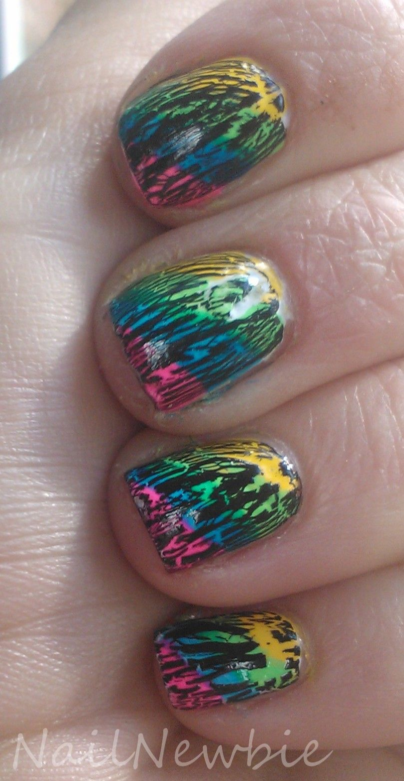 Shattered Neons Nail Newbie   Cute Nails   Pinterest   Neon nails ...