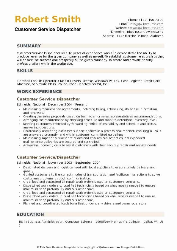 Truck Dispatcher Job Description Resume Beautiful Customer Service Dispatcher Resume Samples In 2020 Job Description Job Resume Nanny Job Description